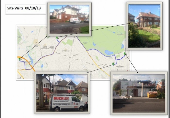 Birmingham Loft Conversion Site Visit Map
