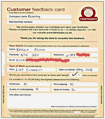 Loft Conversions Fairtrades feedback form